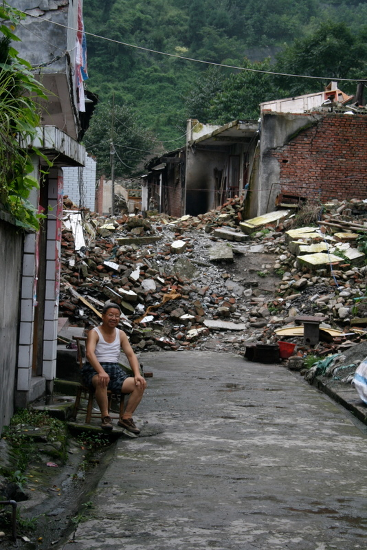 Fault scarp that formed in the village of Bailu during the 2008 Wenchuan earthquake.