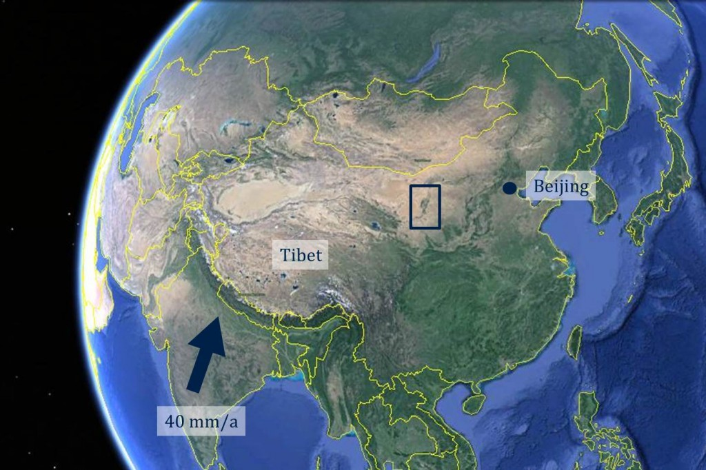 Figure 2: Google Earth image of China. The Yinchuan basin is on the western side of the Ordos Plateau in northern central China. Its location is indicated on the image by a dark blue box.