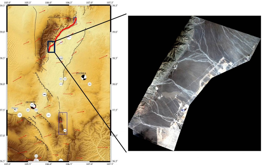 Figure 3: (Left) Map of the Yinchuan basin. Topographic data is from ASTER GDEM; GPS data is shown by red arrows; and focal mechanisms are from the CMT catalogue. Black lines indicate active faults and are drawn with the aid of topographic data and satellite imagery. The location of the 1739 rupture, along the eastern edge of the Helanshan, is indicated by a bold red line. (Right) Imagery from the Pleiades satellite showing the southern portion of the 1739 rupture. The fault scarp can be seen as a faint white line running from southwest to northeast just above the road.