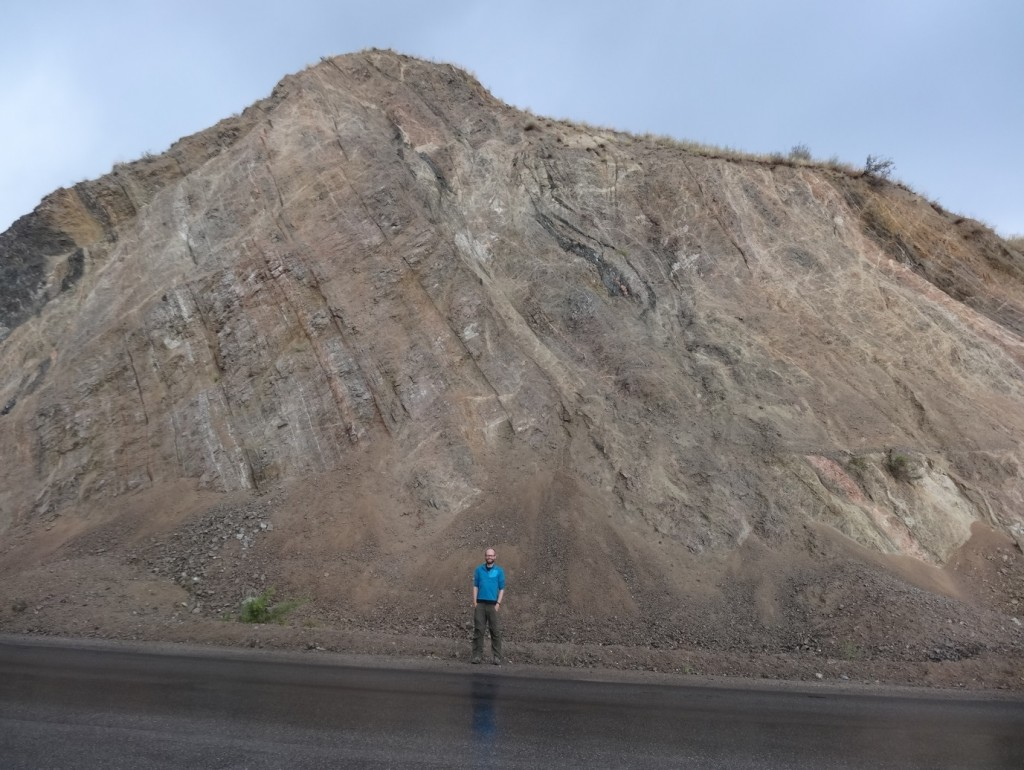 Exposure through the Talas-Fergana fault along the Bishkek-Osh road.