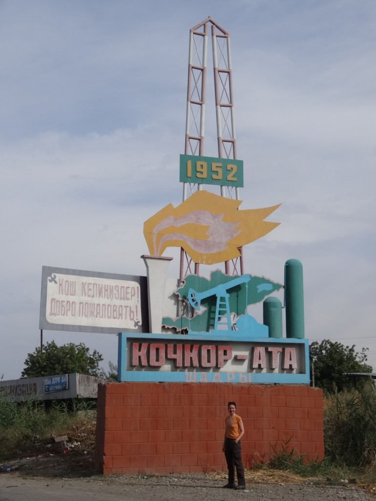 Sign at the entrance to Kochkor Ata, oil town in the Fergana valley.