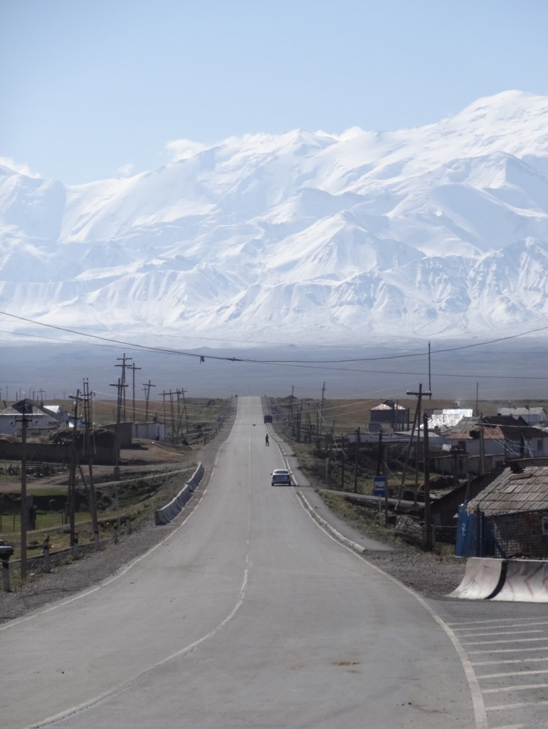 Entering the village of Sary-Tash. Our first view of the Pamir and the road to Tajikistan.
