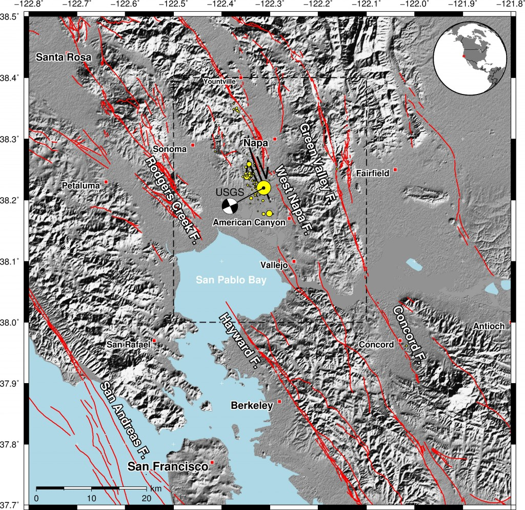 Fault map (red lines) of the region around the Napa Valley earthquake, California. The fault rupture (mapped by UC Davis scientists) resulting from the August 24 earthquake is shown by the black line, south-west of Napa. The mainshock and smaller aftershocks are denoted by the yellow circles. Earthquake locations and existing fault locations sourced from USGS. The dashed line denotes the regions shown in the other figures.