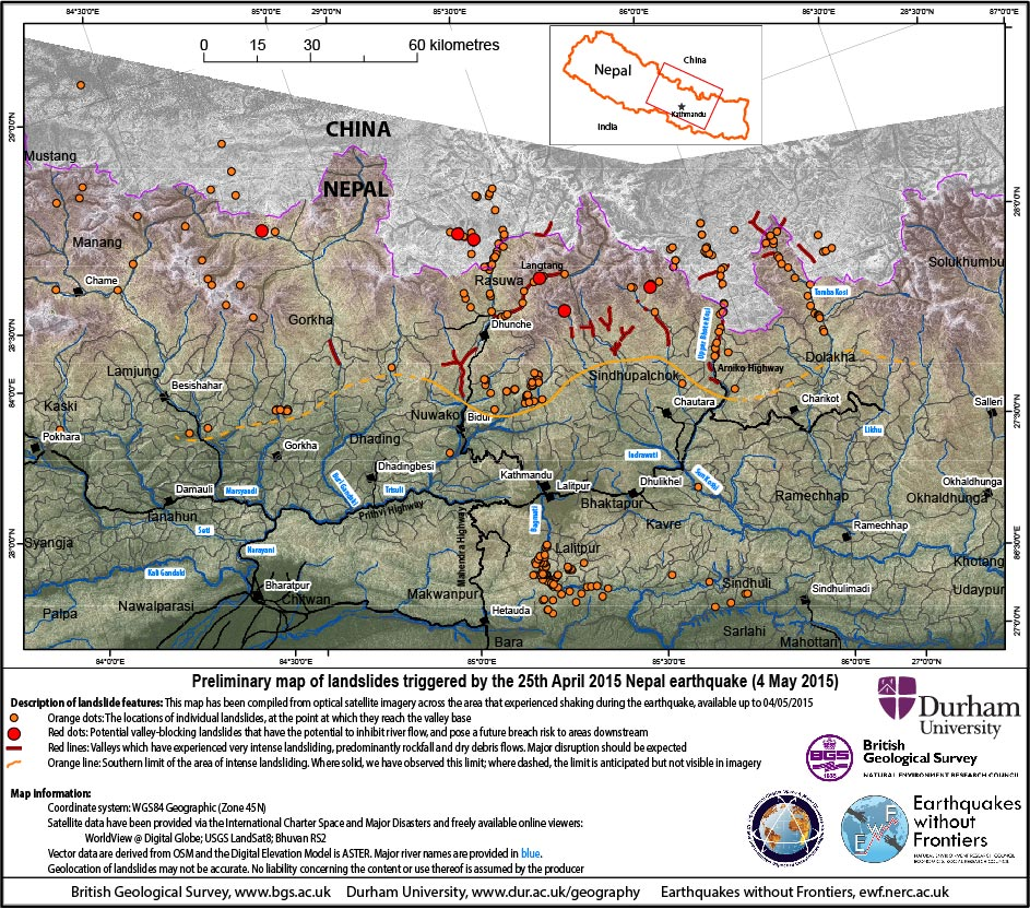Nepal Earthquake Map.Nepal Earthquake Update On Landslide Hazard Earthquakes Without