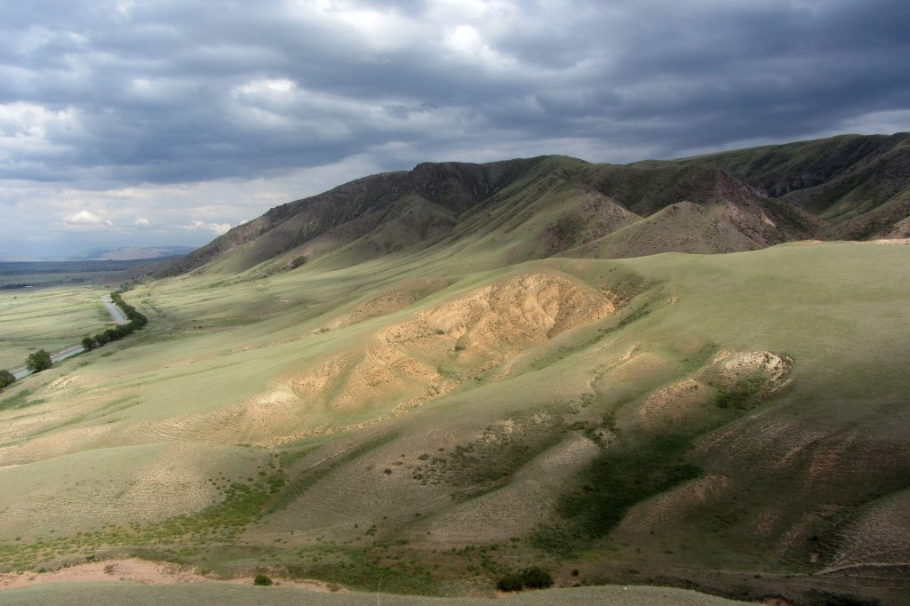 The mountain front east of Almaty.