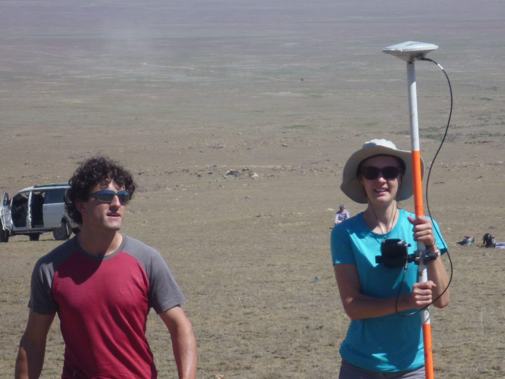 Emily and David measuring DGPS profiles across the fault scarp.